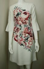 7467b477e8e9 Laura Ashley White Pink Floral Scoop Neck 3 4 Sleeves Shift Dress 8 10 12