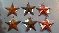 "Set of 6 Small 3.5"" Barn Stars - Ornaments, Metal, 2 Rusty, 2 Black, 2 Burgundy"