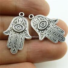 14015*20PCS Vintage Silver Tone Fatima Hamesh Hand Hamsa Hand Pendant Charms