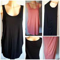 NEW Ex Store Ladies BLACK CORAL Sleeveless Jersey TUNIC Dress Size 10 - 22