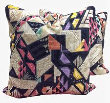 CLARENCE HOUSE Art Deco Geometric Cut Linen Velvet  Designer Throw Pillows Pair