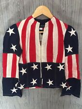 VINTAGE TOMMY HILFIGER FULL PRINT AMERICA USA FLAG SIZE S PUNK ROCK JACKETS COAT