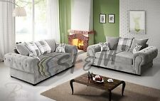 New 3+2 Seater Venecia Suite Sofas Large Italian Style Sofa Silver BIG SALE