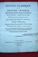 ETAT CIVIL Manuel classique Recueil articles Code NAPOLEON  FORNIER MONTCASALS 1