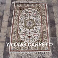 YILONG 2x3' White Handmade Classic Silk Rug Bedroom Hand-knotted Carpet Mat Y92C