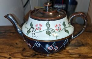 Bruslem Made In England Tea Pot 5' high 6' wide White & Blue with flowers & Lid