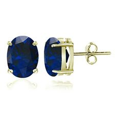 Gold Tone over Sterling Silver Created Blue Sapphire 7x5mm Oval Stud Earrings