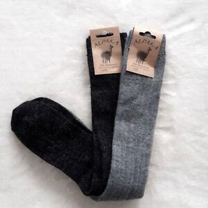 2 Pair Women's Soft Alpaca Knee Socks Extra Soft 100% Wool Grey 35 To 42