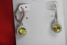 Leverback 925 Silver Halo Nickel Free Yellow Citrine Flower Dangle Earrings