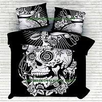 Skeleton Skull Doona Cover Indian Cotton Queen Quilt Duvet Cover Bedding Hippie