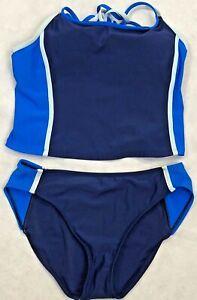 TYR Womens Durafast Diamondfit Workout 2pcs Swim Bikini Swimsuit Royal Blue 12