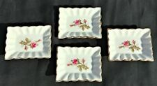 """*RARE* Vintage WALES Made in Japan ASHTRAY *Set of 4* Roses 3-1/4"""" x 2-1/2"""""""