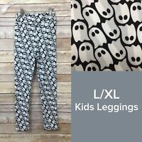 Lularoe Kids Leggings L/XL (7-12) Black Gray White Ghosts Halloween NEW LLR