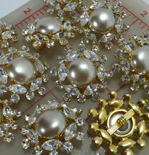 12 vintage large gold buttons glass pearl marquis rhinestones 1 3/8""