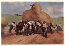 Künstlerkarte Kunst 1943 Bauern bei Heu-Ernte nach Gemälde von J. A. Sailer