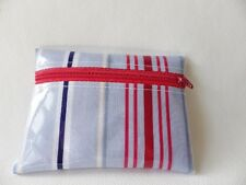 "HANDMADE OILCLOTH MINI COIN PURSE 4¾"" x 3.5"" Zipped: RED/BLUE STRIPE"