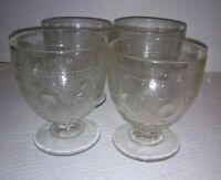 Antique EAPG Cabbage Rose Buttermilk Goblet 4 Open Sugar Central Pattern Glass