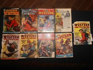 Classic Vintage Pulp Western and Detective Magazines lot of 9!