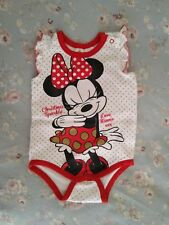 Minnie Mouse baby Girls Christmas Romper bodysuit size 1 AS NEW