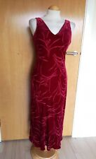 Ladies MONSOON Dress Size 14 Red Velvet Long Smart Evening Party
