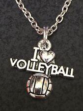 "Tibetan Silver 18"" Necklace Mix B I Love Volleyball Mix F Charm"