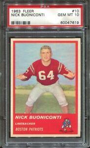 1963 Fleer #10 Nick Buoniconti RC PSA 10 Boston Patriots HOF pop. 1
