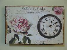 Uhr aus Blech mit Rose 38 cm mal 35 cm 1 kg schwer