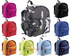 Kids SOL'S Twin Shoulder Strapped Bag Plain School Bag Travel Retro Backpack