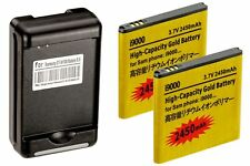 2 X 2450mAh High Capacity Batteries + Charger for Samsung Galaxy S2 Epic 4G D710