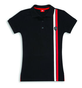 Ducati Shield Ladies short Sleeve Polo T-Shirt Lady Black New