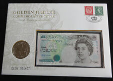 2002 UK £5 COIN + £5 BANKNOTE SPECIAL CYPHER QE50 001407 GOLDEN JUBILEE PNC