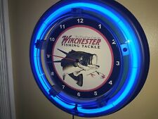 Winchester Fishing Lure Bait Shop Man Cave Blue Advertising Neon Wall Clock Sign