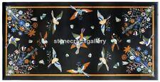 3'x2' Marble Black Dining Table Top Multi stone Birds Inlay Cafeteria Decor B055