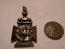 Antique 14k Gold Filled Masonic Knights Templar In Hoc Signo Vinces Pendant Fob