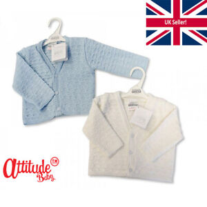 Baby Boy Cardigans-White Or Light Blue Baby Cardigans-Knitted-Baby Shower Gifts