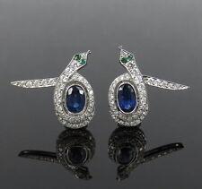 Vintage 1.75ct Diamond & 2.0ct Sapphire Platinum Snake Clip Earrings