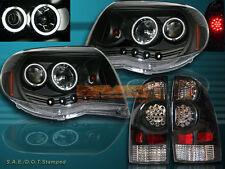 05-08 Tacoma 2X CCFL Angel Eyes Projector Blk Headlights + LED Tail Light Black