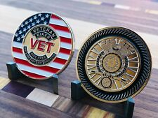 VETERAN BIKER CHALLENGE COIN VET - ARMY USMC NAVY USAF COAST GUARD - MOTORCYCLE