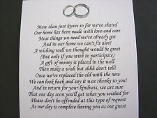 20 Wedding poems asking for money gifts not presents Ref No 9