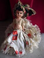 "Vintage 1950s Hard Plastic Belly Dancer Girl Doll 10"" Tall"
