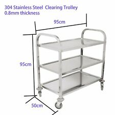 304 Stainless Steel Catering 3 Tier Clearing Trolley Large Catering Buffet