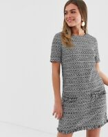 New Look Womens Grey & Black Bouclé Tweed Tunic Dress Sizes 6 to 18