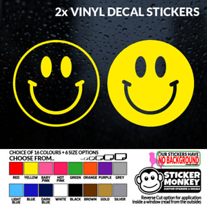 2x Smiley Face Emoji Vinyl Stickers 6 Size 16 Colour Choices Any Smooth Surface