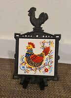 Vintage Enesco Trivet Cast Iron and Ceramic Chicken Tile Retro