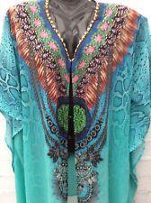 Embellished kaftan top dress jacket beach coverup jewels  one size FITS 8-26