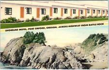 PORT ORFORD, OR Oregon   SHORELINE  MOTEL    c1940s  Roadside  Linen Postcard *