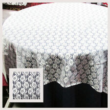 """10 LACE TABLE OVERLAYS 60"""" x 60"""" SQUARE TABLECLOTHS WHITE 100% POLY USA MADE"""
