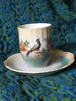 Vintage Leuchtenberg Tea Cup Saucer Germany Luster Porcelain Bird & Flowers
