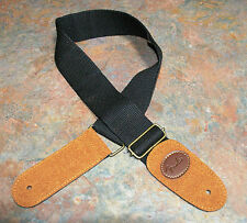 GUITAR STRAP, NEW, COTTON/LEATHER, BLACK/BROWN, EMBOSSED WITH LOGO.