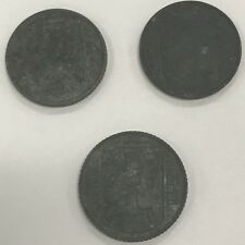 1942, 1943, & 1945 1 franc Nazi Germany & occupation of Belgium coins Lot WWII